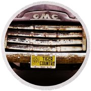 Tiger Country - Purple And Old Round Beach Towel by Scott Pellegrin