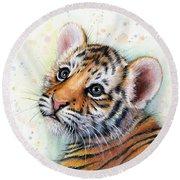 Tiger Cub Watercolor Art Round Beach Towel