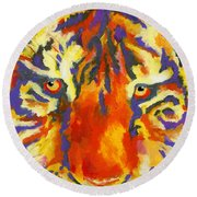 Tiger Eyes Round Beach Towel by Stephen Anderson