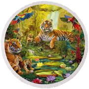Tiger Family In The Jungle Round Beach Towel