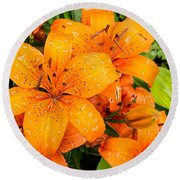Tiger Lily After Morning Rain Round Beach Towel