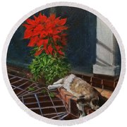 Tiger Lily In Repose Round Beach Towel