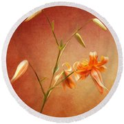 Tiger Lily Round Beach Towel by Lena Auxier