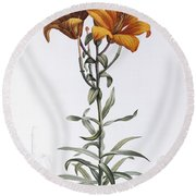 Tiger Lily Round Beach Towel by Pierre Joseph Redoute