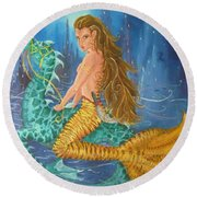 Tiger Lily Tails Round Beach Towel