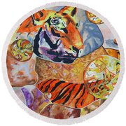 Round Beach Towel featuring the painting Tiger Mosaic by Daniel Janda