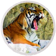 Tiger Round Beach Towel by Oleg Zavarzin
