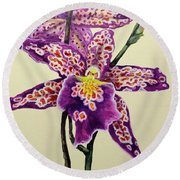 Tiger Orchid Round Beach Towel