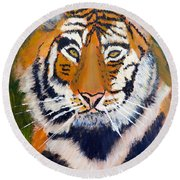 Round Beach Towel featuring the painting Tiger by Pamela  Meredith