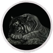 Tiger Power At Peace Round Beach Towel