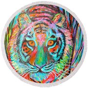 Tiger Stare Round Beach Towel