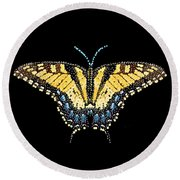 Tiger Swallowtail Butterfly Bedazzled Round Beach Towel