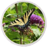 Tiger Swallowtail On Butterfly Bush Round Beach Towel