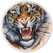 Tiger Watercolor Portrait Round Beach Towel
