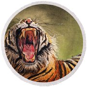 Tiger Yawn Round Beach Towel