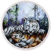 Round Beach Towel featuring the painting Tigers-mother And Child by Harsh Malik