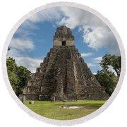 Tikal Pyramid 1j Round Beach Towel