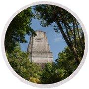 Tikal Pyramid 4b Round Beach Towel