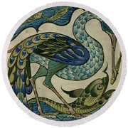 Tile Design Of Heron And Fish Round Beach Towel