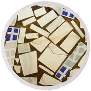 Tile Pieces In Brown Grout Round Beach Towel