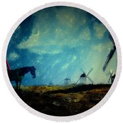 Tilting At Windmills Round Beach Towel by Galen Valle