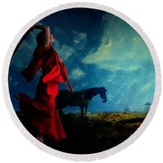 Tilting At Windmills Round Beach Towel