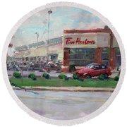 Tim Hortons By Niagara Falls Blvd Where I Have My Coffee Round Beach Towel