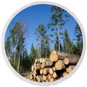 Timber Stack Of Whitewood Round Beach Towel