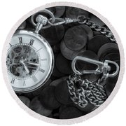 Time And Money Round Beach Towel