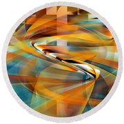 Time And Space Round Beach Towel by rd Erickson