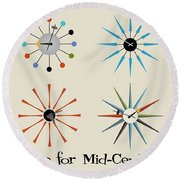 Time For Mid-century Round Beach Towel