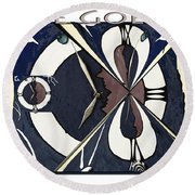Time Goes By Round Beach Towel