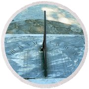 Time Keeps On Ticking Round Beach Towel by Michael Porchik