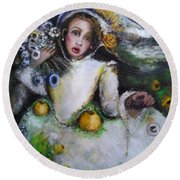 Round Beach Towel featuring the painting Time by Laurie L