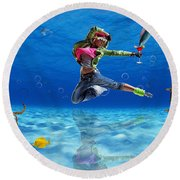 Time Off Round Beach Towel by Marvin Blaine