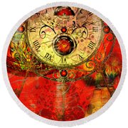Time Passes Round Beach Towel by Ally  White