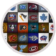 Time To Lace Up The Skates Recycled Vintage Hockey League Team Logos License Plate Art Round Beach Towel by Design Turnpike