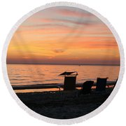Round Beach Towel featuring the photograph Time To Reflect by Karen Silvestri