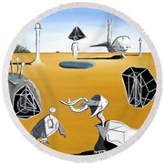 Round Beach Towel featuring the painting Time Travel by Ryan Demaree