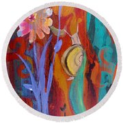 Round Beach Towel featuring the painting Time Traveler by Robin Maria Pedrero