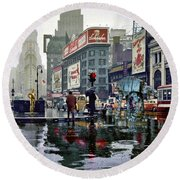 Times Square 1943 Reloaded Round Beach Towel