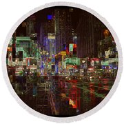 Times Square At Night - After The Rain Round Beach Towel