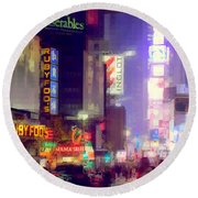 Times Square At Night - Columns Of Light Round Beach Towel