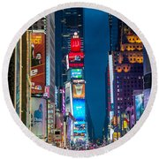 Times Square I Round Beach Towel