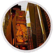 Times Square In Manhattan Round Beach Towel