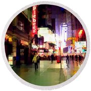 Times Square New York - Nanking Restaurant Round Beach Towel