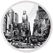 Times Square   New York City Round Beach Towel by Iconic Images Art Gallery David Pucciarelli