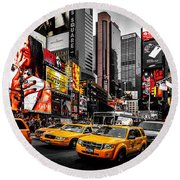Times Square Taxis Round Beach Towel
