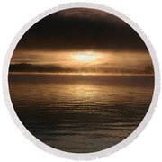 Timothy Lake Mysterious Sunrise 2 Round Beach Towel
