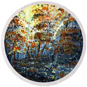 Round Beach Towel featuring the painting Tim's Autumn Trees by Holly Carmichael
